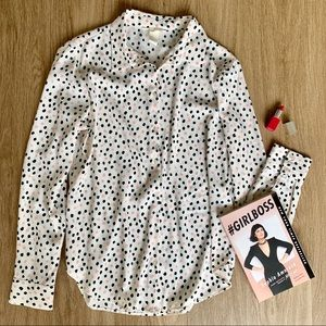 H&M Pink and Black Dotted Blouse